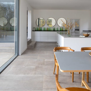 Inspiration for a large contemporary kitchen/dining room in Devon with grey floors and white walls.
