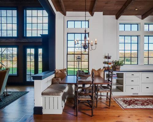 Country Medium Tone Wood Floor And Brown Floor Kitchen/dining Room Combo  Photo In Philadelphia