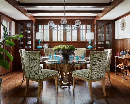 Elegant Dark Wood Floor And Brown Dining Room Photo In Chicago With White Walls