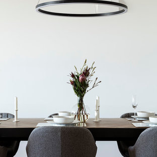 Design ideas for a large contemporary dining room in Brisbane with white walls, medium hardwood floors and brown floor.