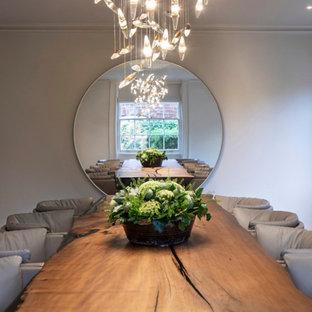 Idee per una grande sala da pranzo minimal chiusa con pareti bianche, pavimento con piastrelle in ceramica, camino classico, cornice del camino in pietra e pavimento bianco