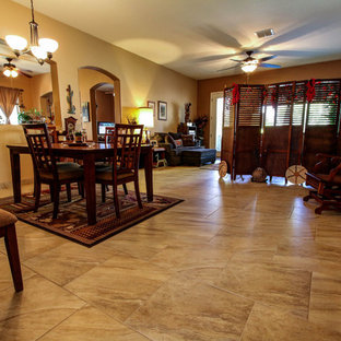 Mid-sized transitional porcelain floor dining room photo in Phoenix with beige walls