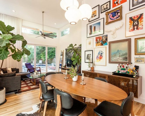 Example Of A Mid Sized Eclectic Light Wood Floor And Brown Great Room Design