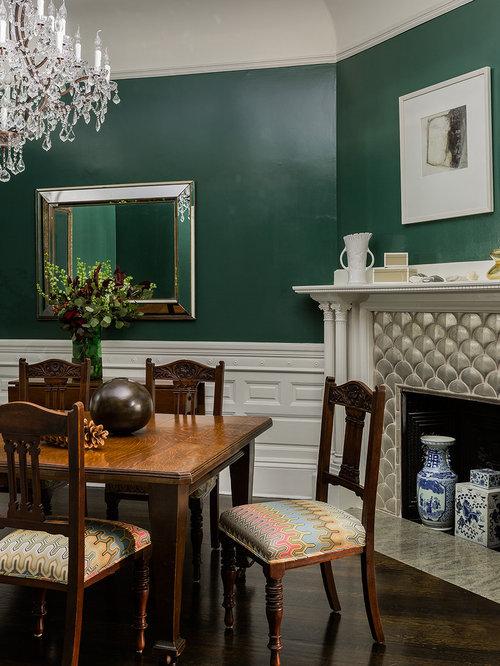 Dark Green Dining Room Design Ideas Remodels Photos