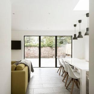 Diseño de comedor actual, de tamaño medio, abierto, con paredes blancas, suelo de baldosas de cerámica, estufa de leña, marco de chimenea de hormigón y suelo gris