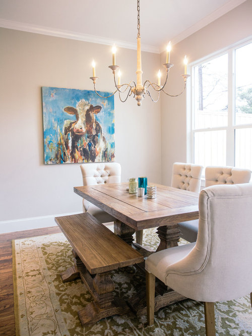 709 Farmhouse Dining Room With Gray Walls Design Ideas