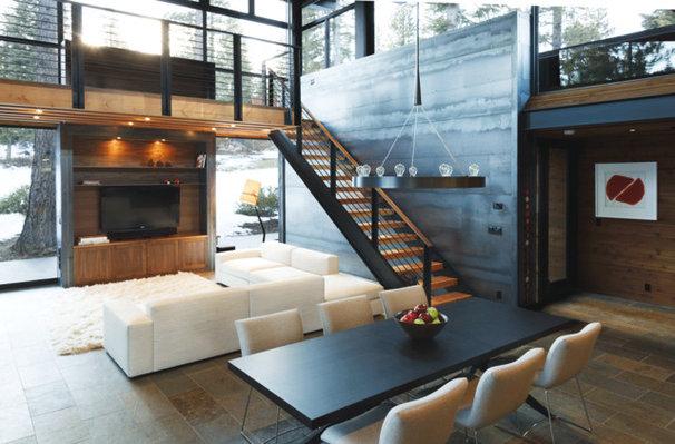 Industrial Dining Room by sagemodern