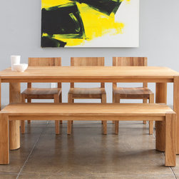 MASHstudios | PCHseries Dining Table + Bench - The PCHseries dining table brings people together. The beautifully crafted solid teak wood table top and chunky quarter round legs add a presence to any room.