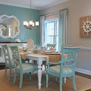 Dining room - mid-sized coastal medium tone wood floor dining room idea in Boston with blue walls