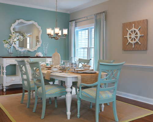 blue dining room chairs. Dining room  mid sized beach style medium tone wood floor dining idea in Blue Room Chairs Houzz