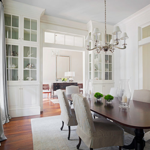 Inspiration For A Timeless Dark Wood Floor Enclosed Dining Room Remodel In Atlanta With White Walls