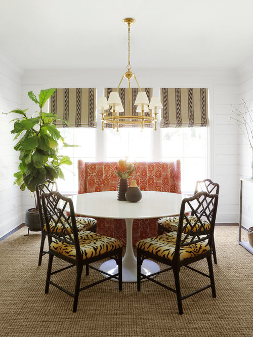 Inspiration For An Eclectic Dining Room Remodel In Nashville With White Walls