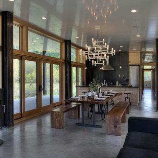 Diseño de comedor contemporáneo, pequeño, abierto, con suelo de cemento