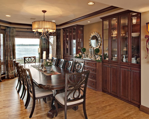 Inspiration For A Timeless Medium Tone Wood Floor Dining Room Remodel In Minneapolis With Beige Walls