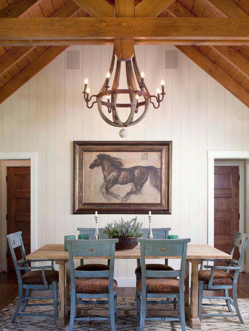 Mountain Style Dark Wood Floor Dining Room Photo In Denver With White Walls