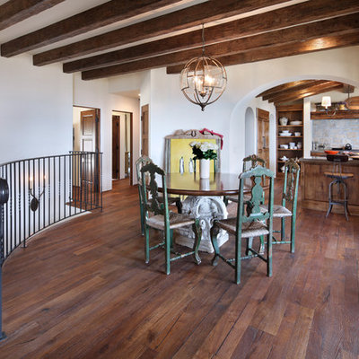 Kitchen/dining room combo - large mediterranean dark wood floor kitchen/dining room combo idea in Orange County with white walls