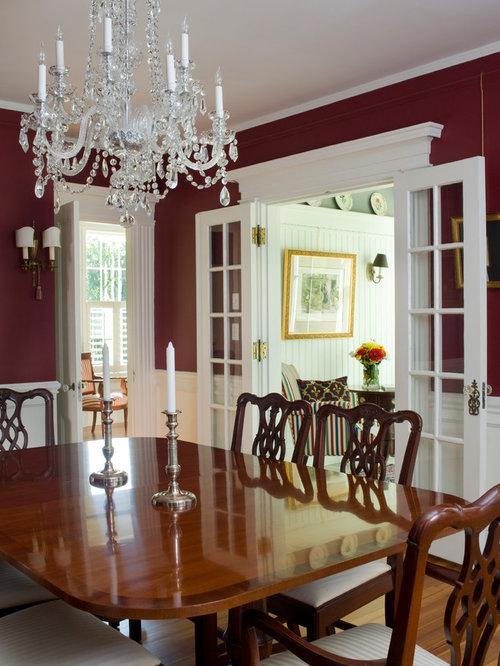 landhausstil esszimmer mit roter wandfarbe ideen design bilder houzz. Black Bedroom Furniture Sets. Home Design Ideas