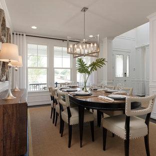 Immagine di una grande sala da pranzo chic chiusa con pareti bianche, pavimento in vinile, nessun camino e pavimento marrone