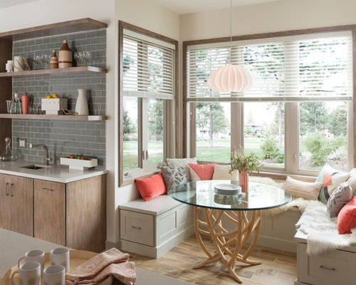 Example Of A Transitional Brown Floor Kitchen/dining Room Combo Design In  Other With Beige