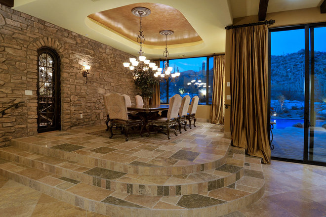 Mediterranean Dining Room by Soloway Designs Inc.
