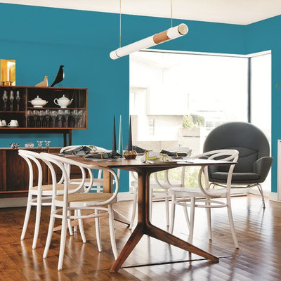 Dining room - contemporary dining room idea in Other with blue walls