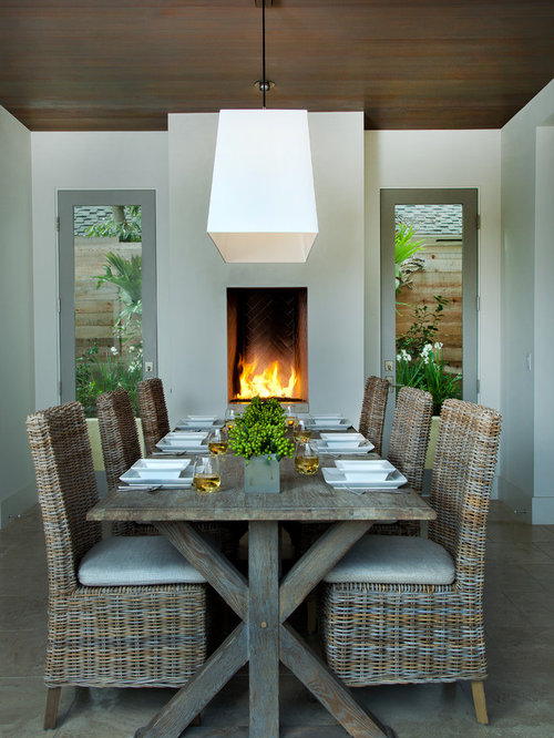Inspiration For A Mediterranean Dining Room Remodel In San Diego With White  Walls And A Standard