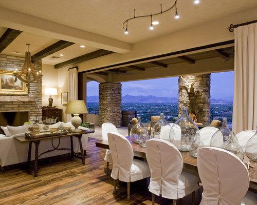 Mountain Style Medium Tone Wood Floor Great Room Photo In Phoenix With Beige Walls