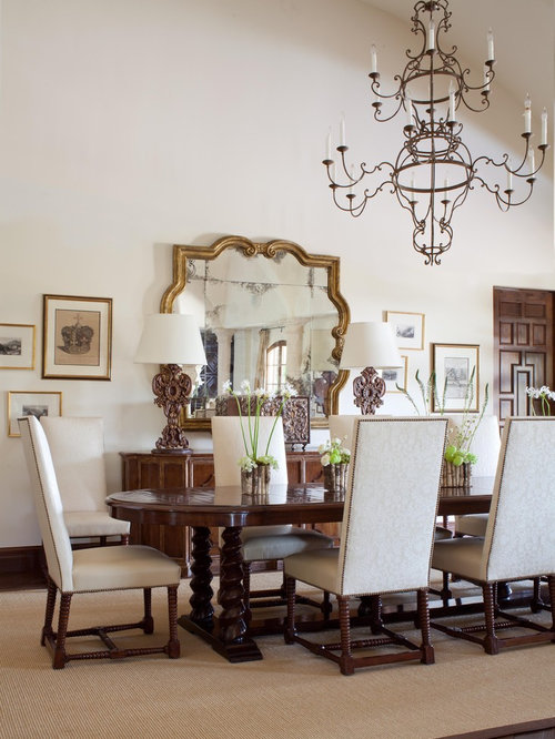 Inspiration For A Mediterranean Dining Room Remodel In Denver With White Walls