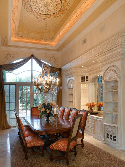 Mediterranean Dining Room by Jennifer Lang Designs, Inc.