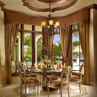 Example of a mid-sized tuscan marble floor and beige floor great room design in Miami with beige walls and no fireplace