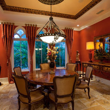 Mediterranean Dining Room by SRQ360 Photography