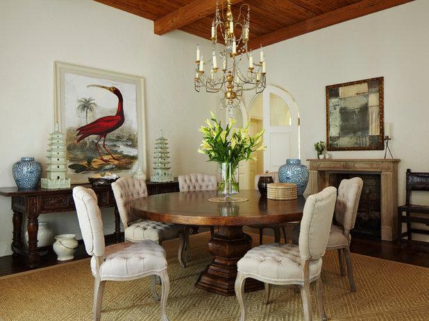 Mediterranean Dining Room by Katherine Shenaman Interiors