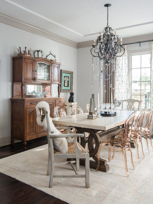 Inspiration For A Transitional Dark Wood Floor Dining Room Remodel In  Houston With Gray Walls Part 64
