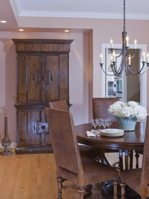 Farmhouse Medium Tone Wood Floor Dining Room Idea In San Francisco With Beige Walls
