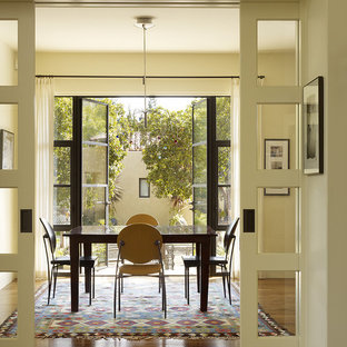 Dining room - transitional brown floor dining room idea in San Francisco