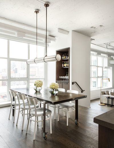 Transitional Dining Room by Croma Design Inc