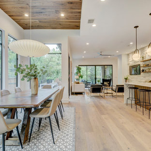 Inspiration for a contemporary light wood floor and beige floor great room remodel in Austin with white walls