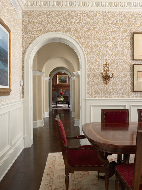 Wainscoting With Wallpaper Above Houzz