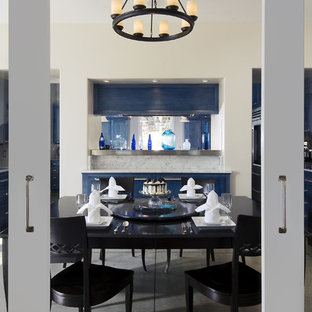 Inspiration for a contemporary dining room remodel in San Luis Obispo with white walls