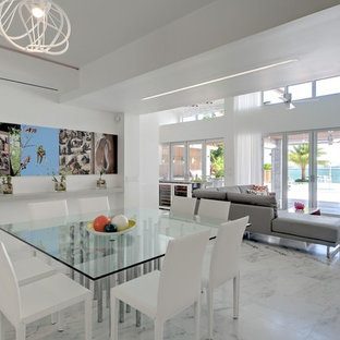 Great room - large contemporary marble floor and multicolored floor great room idea in Miami with white walls