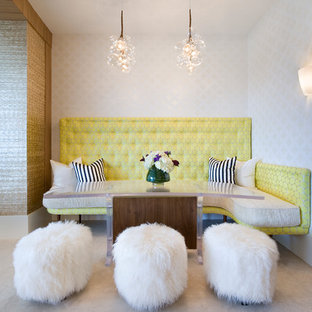 Trendy great room photo in Miami with white walls and no fireplace
