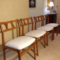 Mid-Century Modern Dining Room Chairs, Reupholstered - Mid-Century Modern dining room chairs reupholstered.