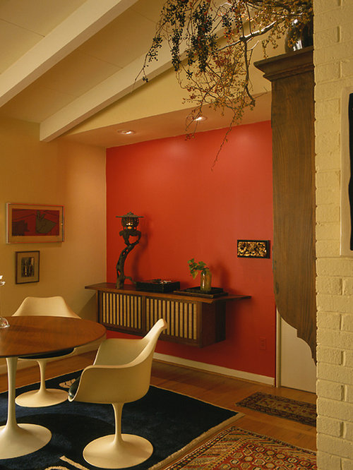 1950s Dark Wood Floor Dining Room Photo In Baltimore With Red Walls Part 82