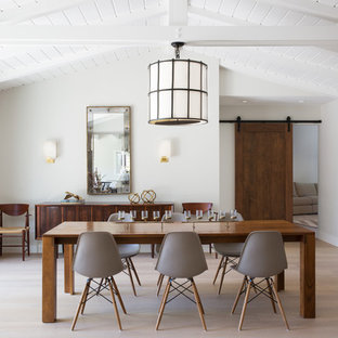 Large mid-century modern light wood floor and beige floor enclosed dining room photo in San Francisco with white walls and no fireplace