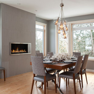 Example of a transitional medium tone wood floor dining room design in New York with gray walls, a ribbon fireplace and a tile fireplace