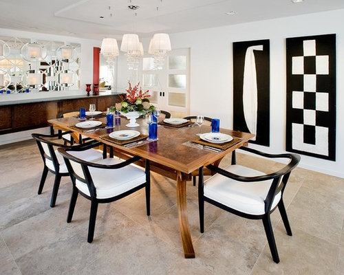 Tile Floor Wood Dining Table | Houzz