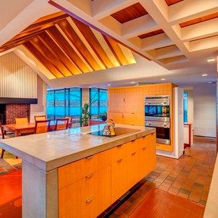ニューヨークの大きいコンテンポラリースタイルのおしゃれなダイニングキッチン (グレーの壁、コンクリートの床、標準型暖炉、レンガの暖炉まわり) の写真