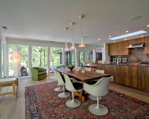 inspiration for a mid sized 1960s light wood floor and beige floor great room remodel - Mid Century Modern Dining Room Ideas