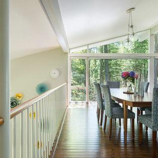 Неиссякаемый источник вдохновения для домашнего уюта: кухня-столовая среднего размера в стиле ретро с белыми стенами и темным паркетным полом