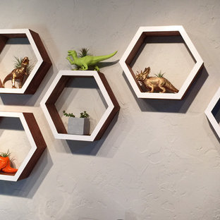Mid Mod hex wall art + gold and neon dinosaurs